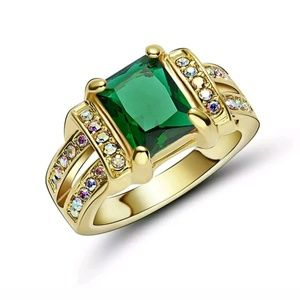 Green Emerald 18K Yellow Gold Filled Size 6